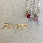 Ruby solitaire pendant and pink sapphire solitaire pendant