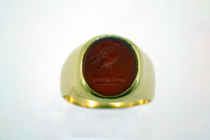 carved carnelian signet ring