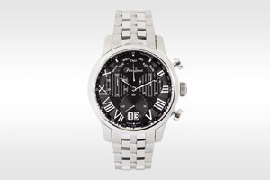 stainless steel black face watch
